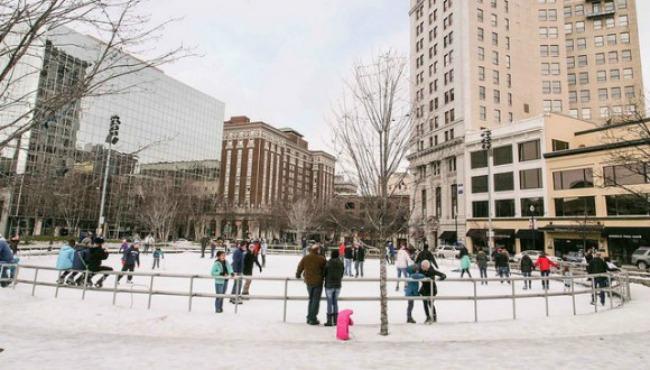 Ice skating at Rosa Parks Circle_192691