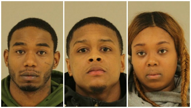 Left to right: mug shots of Desean Porter, Arthur Jackson and Jennifer Harris provided by the Kent County Jail. (March 8, 2016)