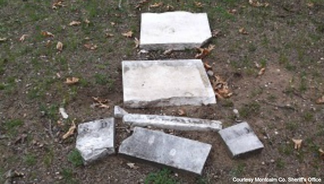 Eureka Township cemetery vandalism 050516_211788
