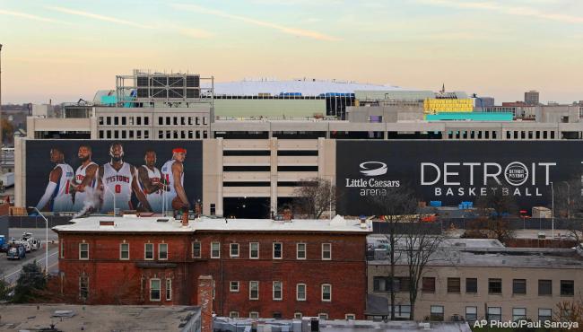 Little Caesars Arena Detroit Pistons sign 112216 file AP_363702