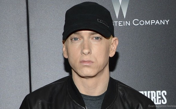 """In this July 20, 2015, file photo, rapper Eminem attends the premiere of """"Southpaw"""" in New York."""