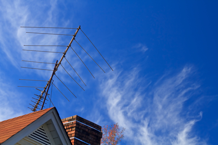 TV Antenna on a House Top