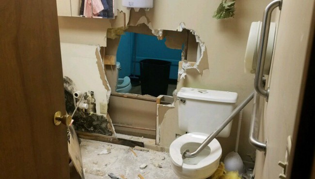 hole through bathroom