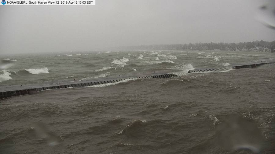 south haven glerl 4 16 18 snow shower and big waves_1523962400829.jpg.jpg