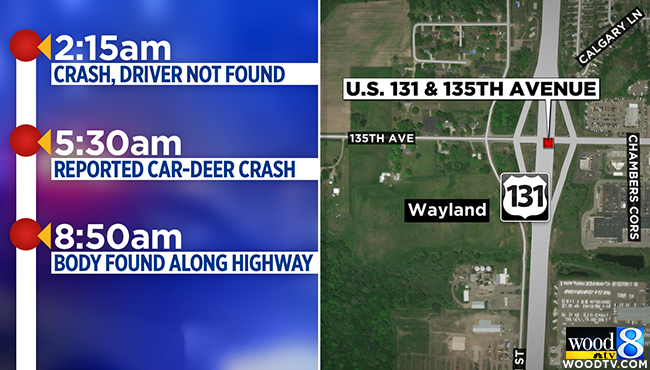 Pedestrian hit, killed on NB US-131 near Wayland ID'd on map of city of grand rapids, map of hamtramck, map of sparta township, map of plainfield township, map of cannon township, map of wesley college, map of rock hall, map of upper peninsula of michigan, map of delmar, map of delaware technical community college,