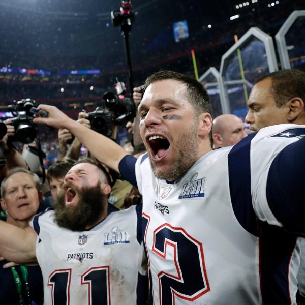 Super Bowl Patriots Rams Brady celebrates 020319 AP_1549252885280