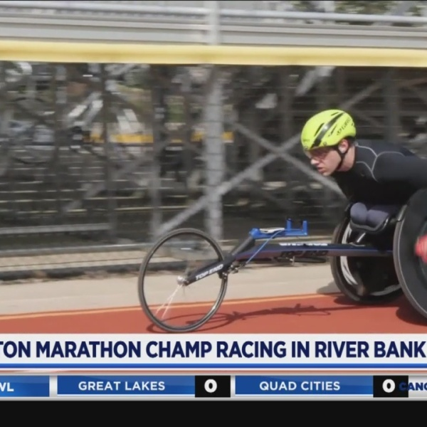 Boston Marathon champ racing in River Bank