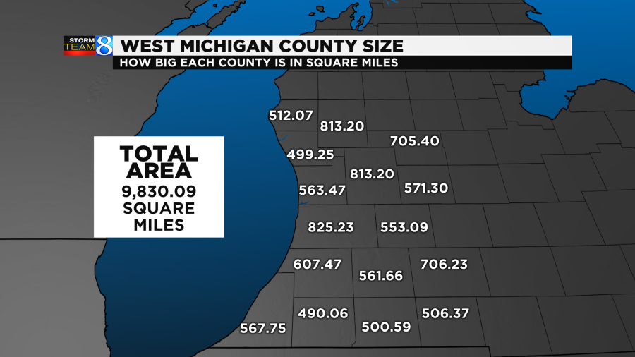 The total area of West Michigan counties is 9,830.09 square miles.