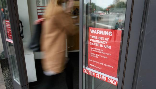 CVS time-delay safes warning sign