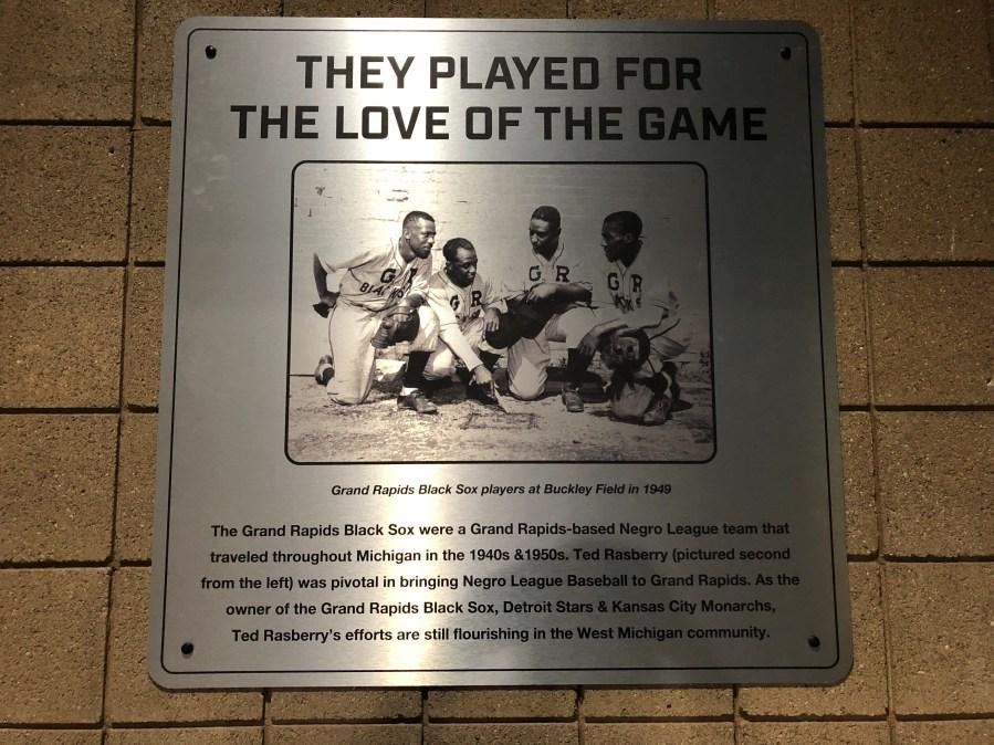 Grand Rapids Black Sox plaque
