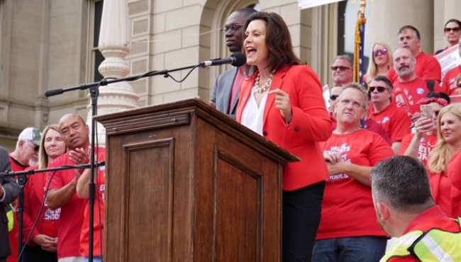 Gov. Gretchen Whitmer speaks at the Red for Ed rally in Lansing. (June 18, 2019)