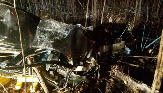 A photo of the Nov. 17, 2018 crash that resulted in  Jeremy Blevins's death.