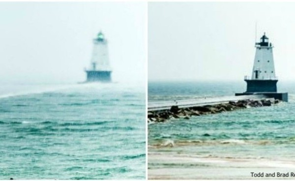 Ludington pier before and after 2018 meteotsunami
