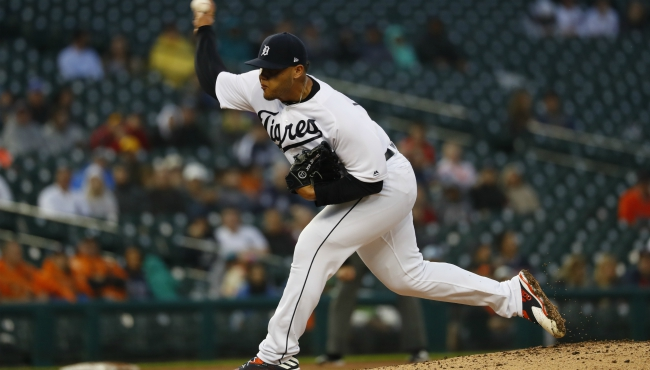 Detroit Tigers relief pitcher Joe Jimenez throws in the ninth inning of a baseball game against the Cleveland Indians in Detroit, Saturday, June 15, 2019. (AP Photo/Paul Sancya)