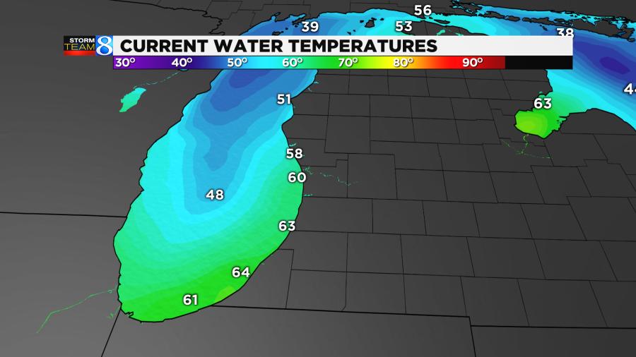 Water temps across Lake Michigan and Huron.
