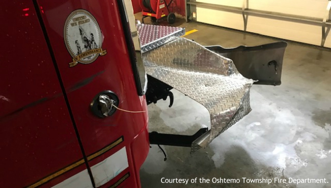 A photo of a damaged Oshtemo Township fire truck. (Courtesy of  Oshtemo Township Fire Department)
