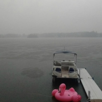 Rain over Bass Lake in Gowen June 9, 2019