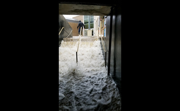 Stairs at Waldo Stadium flooded after heavy rains in Kalamazoo. (June 20, 2019)