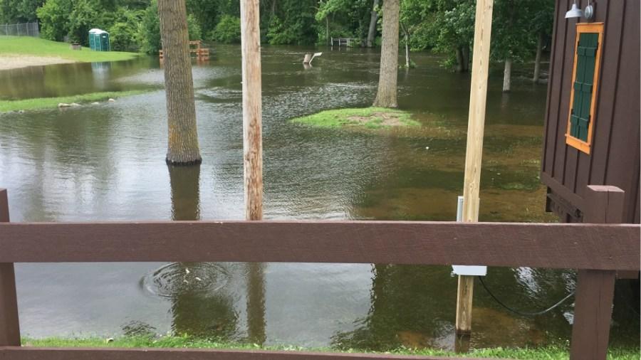 Flooded U-Rent-Em Canoe Livery