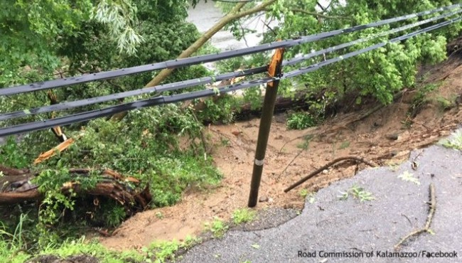 Flooding damage on East Michigan Avenue in Comstock Township