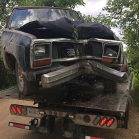 Truck damaged in Noddins Road crash