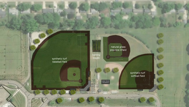 A rendering of the plan for the new Derek Jeter Field Complex at Kalamazoo Central High School.