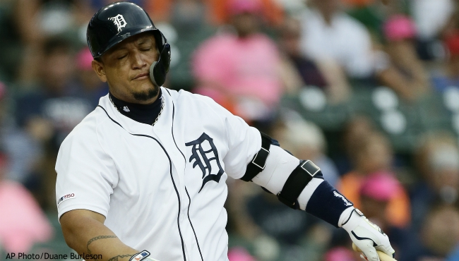 Detroit Tigers' Miguel Cabrera strikes out against the Toronto Blue Jays during the first inning of a baseball game, Friday, July 19, 2019, in Detroit. (AP Photo/Duane Burleson)