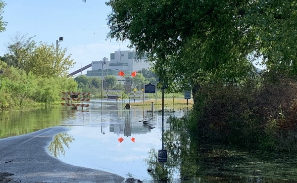 A photo of flooding near the Harbor Island boat launch in Grand Haven. (July 5, 2019)