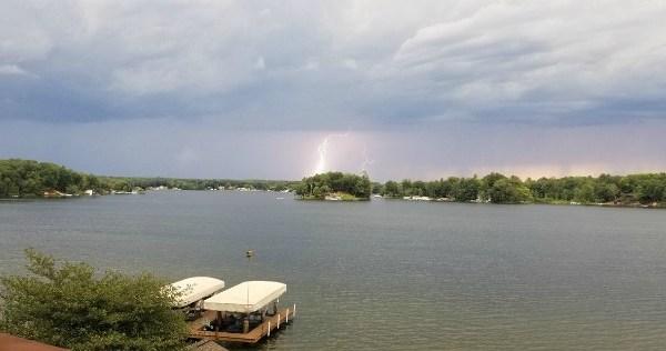 Lightning strikes near Lake Mecosta in Morton Township. Courtesy of Derek Damstra.