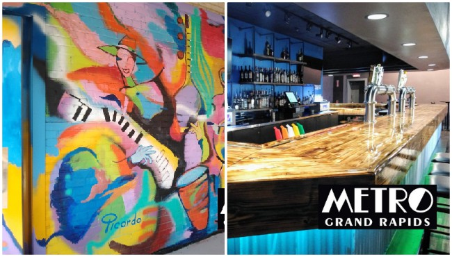 Mural and bar inside metro grand rapids
