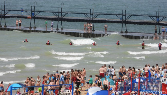 South Haven responders line rescue rope along pier