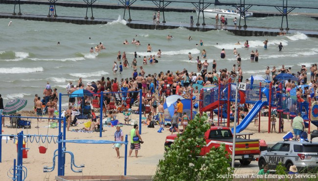Swimmers in Lake Michigan along South Haven pier