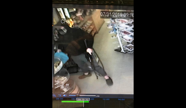 A surveillance photo of a suspect at an armed robbery at Trufant Gas & Party Store on July 31, 2019. (Courtesy of Michigan State Police)