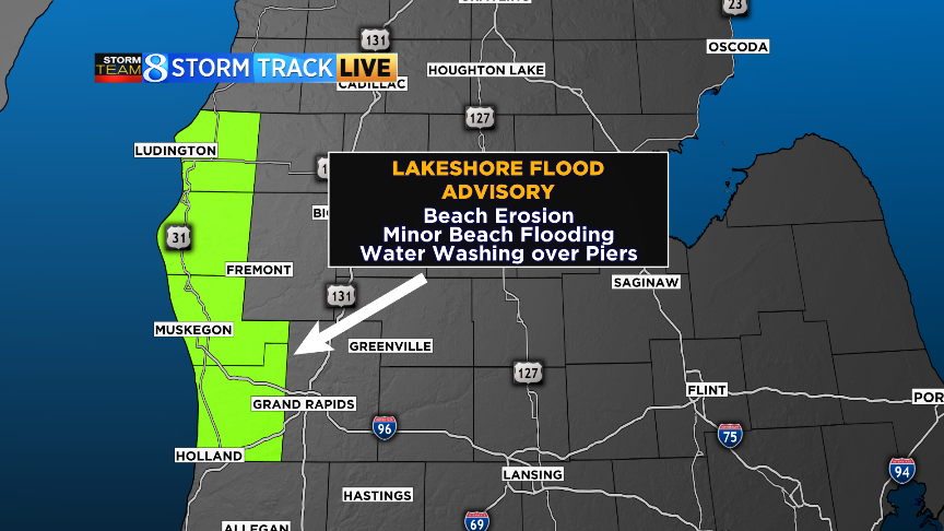 Map shows four counties under lakeshore flood advisory
