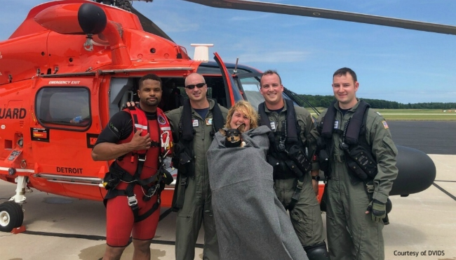A photo after the Coast Guard saved a woman and a dog in Ludington on July 19, 2019. (Courtesy of DVIDS)