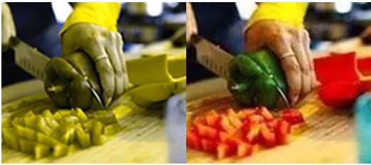 A colorblind and non-colorblind comparison of a person chopping peppers