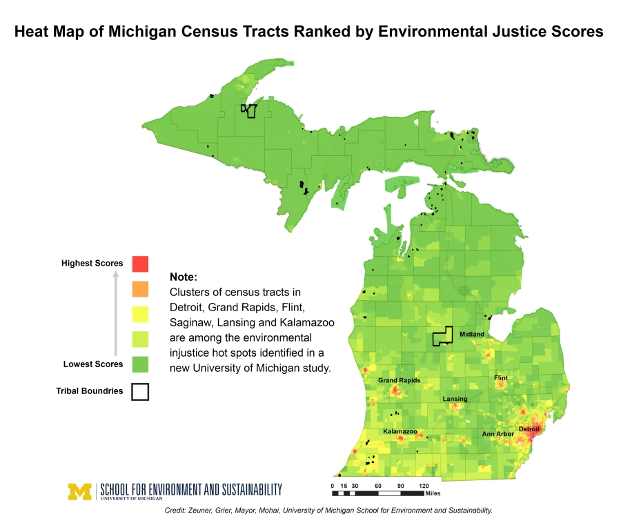 environmental injustice study heat map