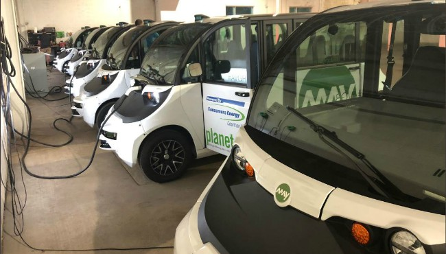 May Mobility fleet in garage