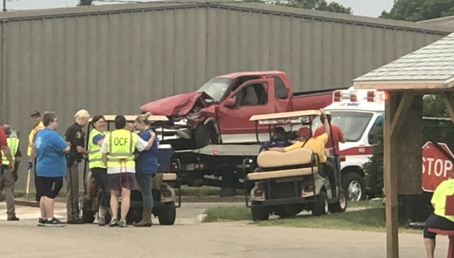 A photo of a two-vehicle crash in front of the Ottawa County Fairgrounds on July 27, 2019.