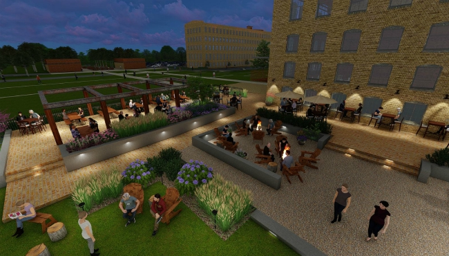 A courtesy rendering of the beer garden at The Mill at Vicksburg, a redevelopment project in Kalamazoo County. (July 23, 2019)