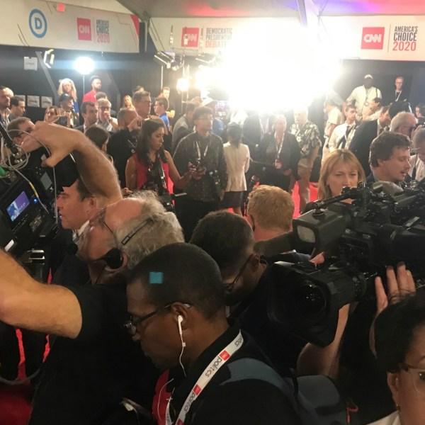 detroit democratic presidential debate spin room