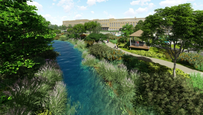 A courtesy rendering of The Mill at Vicksburg, a redevelopment project in Kalamazoo County. (July 23, 2019)