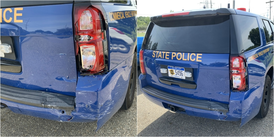 A photo of a damaged Michigan State Police cruiser. (Aug. 30, 2019)