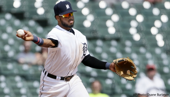 Detroit Tigers third baseman Dawel Lugo throws out Chicago White Sox's Jose Abreu at second base on a grounder by Chicago's Eloy Jimenez during the sixth inning of a baseball game, Wednesday, Aug. 7, 2019, in Detroit. (AP Photo/Duane Burleson)