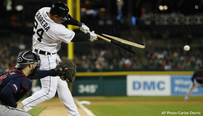 Detroit Tigers' Miguel Cabrera breaks his bat as he hits into a fielder's choice to second during the sixth inning of a baseball game against the Minnesota Twins, Saturday, Aug. 31, 2019, in Detroit. (AP Photo/Carlos Osorio)