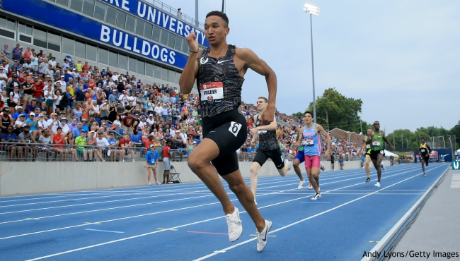 DES MOINES, IOWA - JULY 28: Donavan Brazier runs to victory in the 800 meter final during the 2019 USATF Outdoor Championships at Drake Stadium on July 28, 2019 in Des Moines, Iowa. (Photo by Andy Lyons/Getty Images)