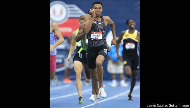 DES MOINES, IOWA - JULY 27: Donavan Brazier crosses the finish line first to win the Men's 800 Meter Final during the 2019 USATF Outdoor Championships at Drake Stadium on July 27, 2019 in Des Moines, Iowa. (Photo by Jamie Squire/Getty Images)