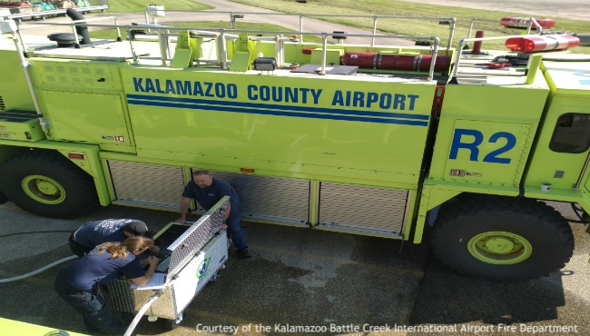 A photo of a new eco-friendly foam cart to be used at a Kalamazoo County airport. Courtesy of the Kalamazoo Battle Creek International Airport Fire Department. (Aug. 7, 2019)