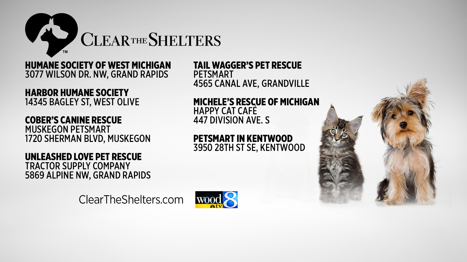 Clear The Shelters 2019 Participants Woodtvcom