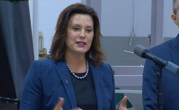 Gretchen Whitmer talking with hands up